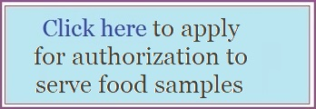 Application to get authorization to serve food samples at Coastal Living Show